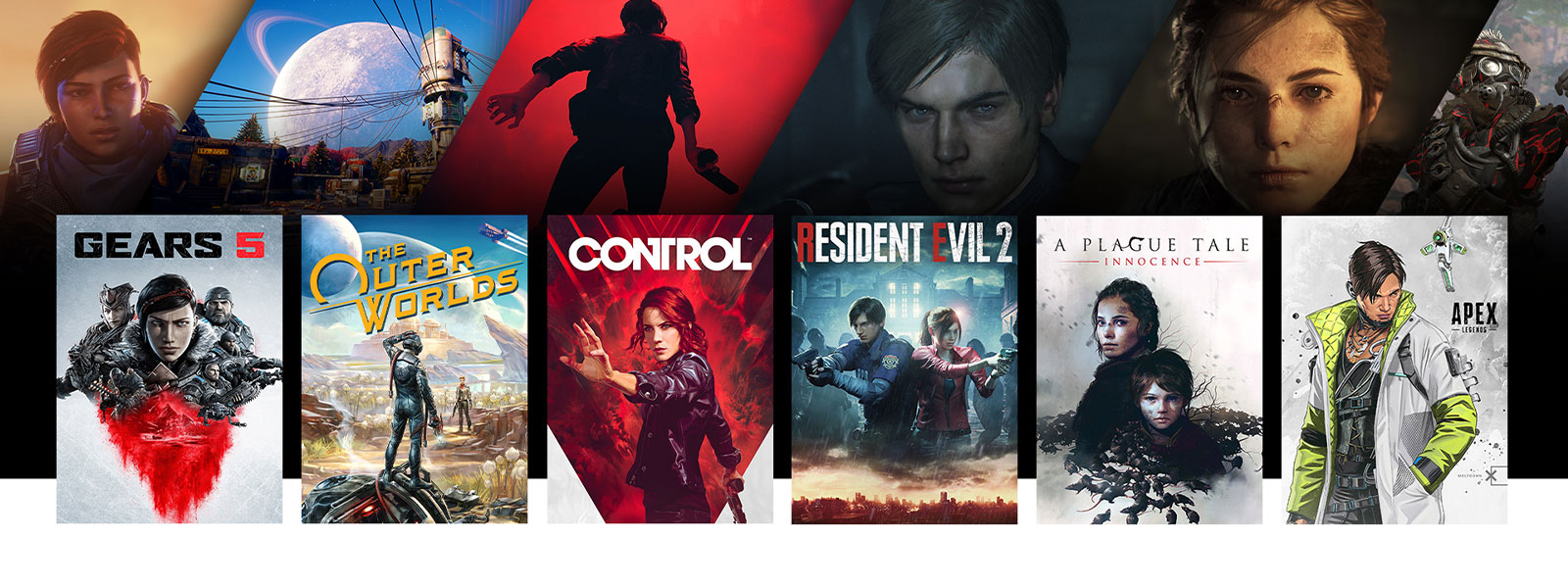 A collage of scenes and box art from Xbox One games on sale. Gears 5, The Outer Worlds, Control, Resident Evil 2, A Plague Tale: Innocence, Apex Legends.