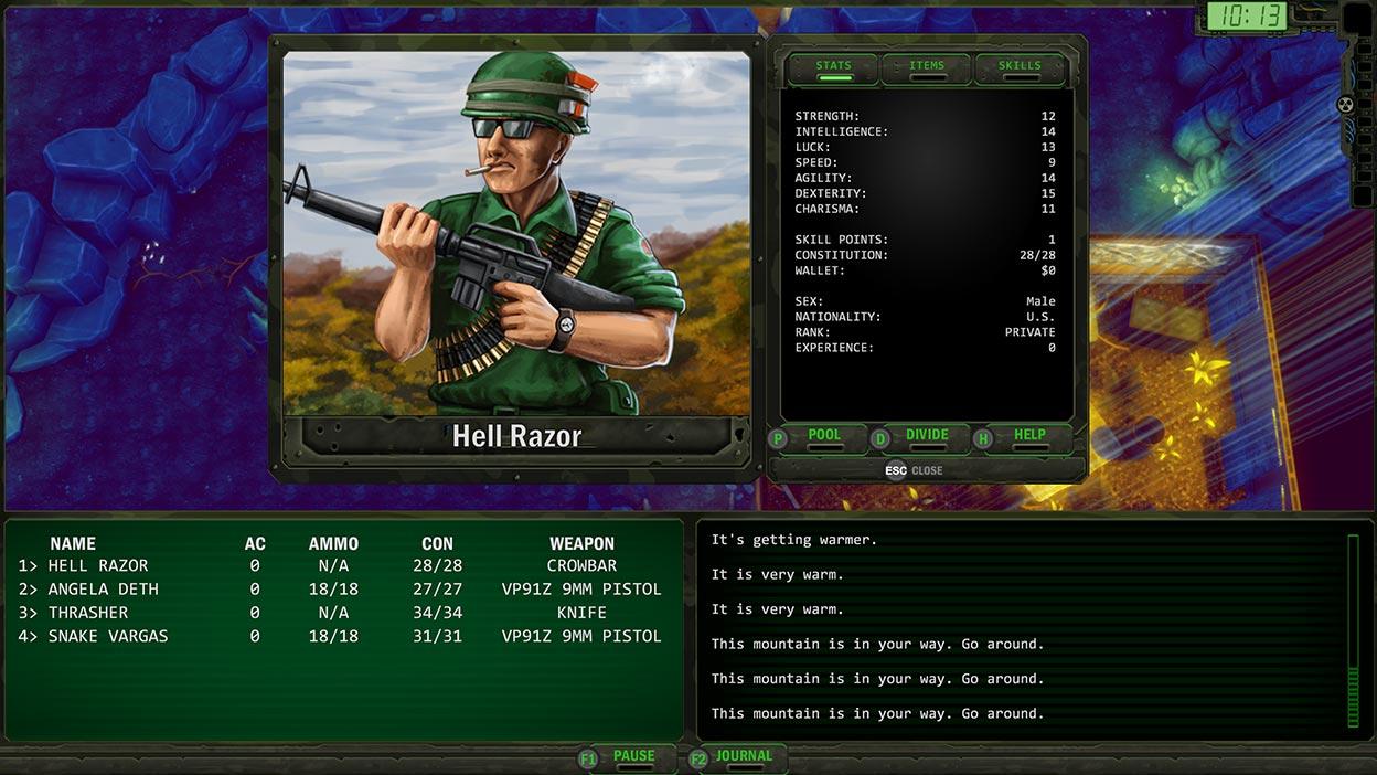 Screenshot des Storybooks mit der Figur Hell Razor, die eine Waffe hält und eine Zigarette raucht