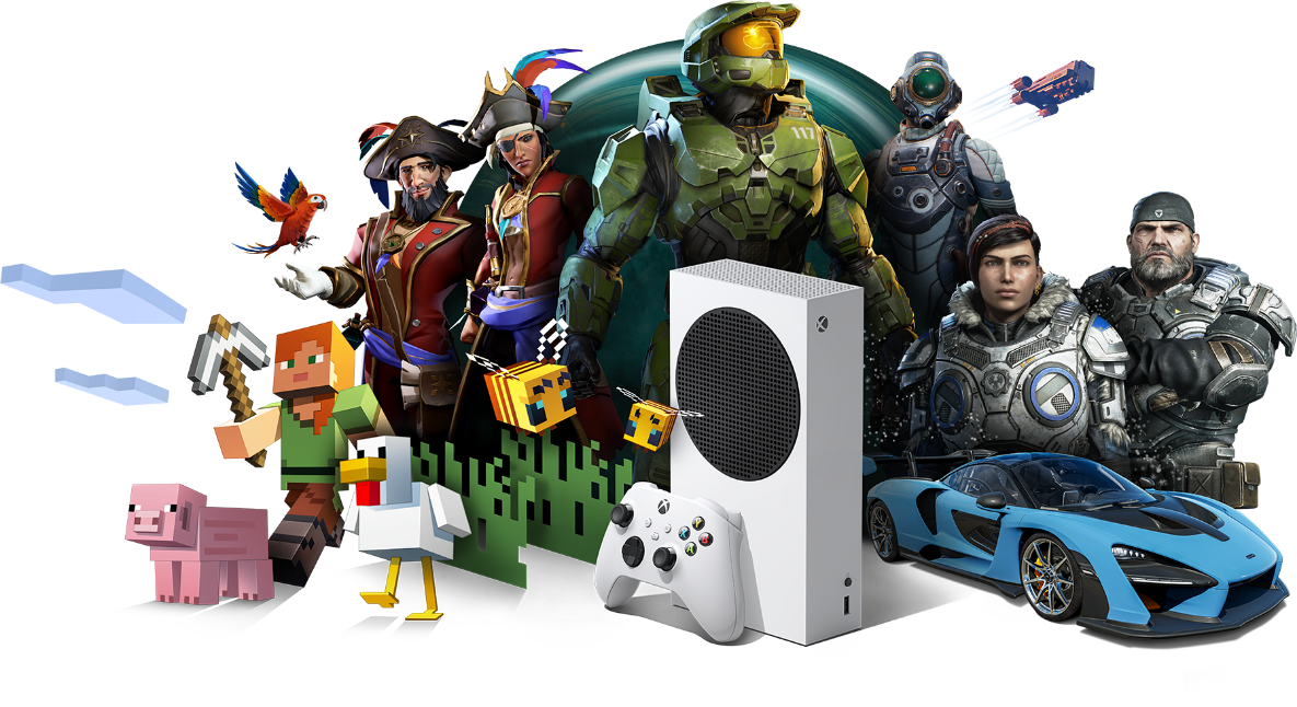 An Xbox Series S console and Xbox Wireless Controller sit in front of a collection of game characters from Xbox games.