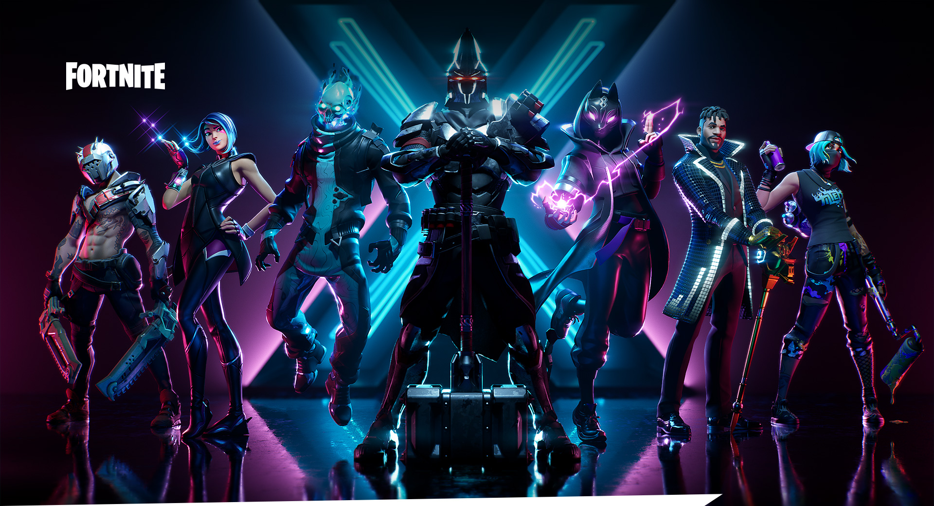 Fortnite, vue de face de sept personnages Fortnite en train de poser