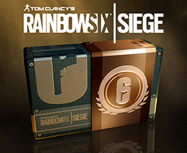 Tom Clancy's Rainbow Six® Siege box with an outline of a gun and the number 6 on the front