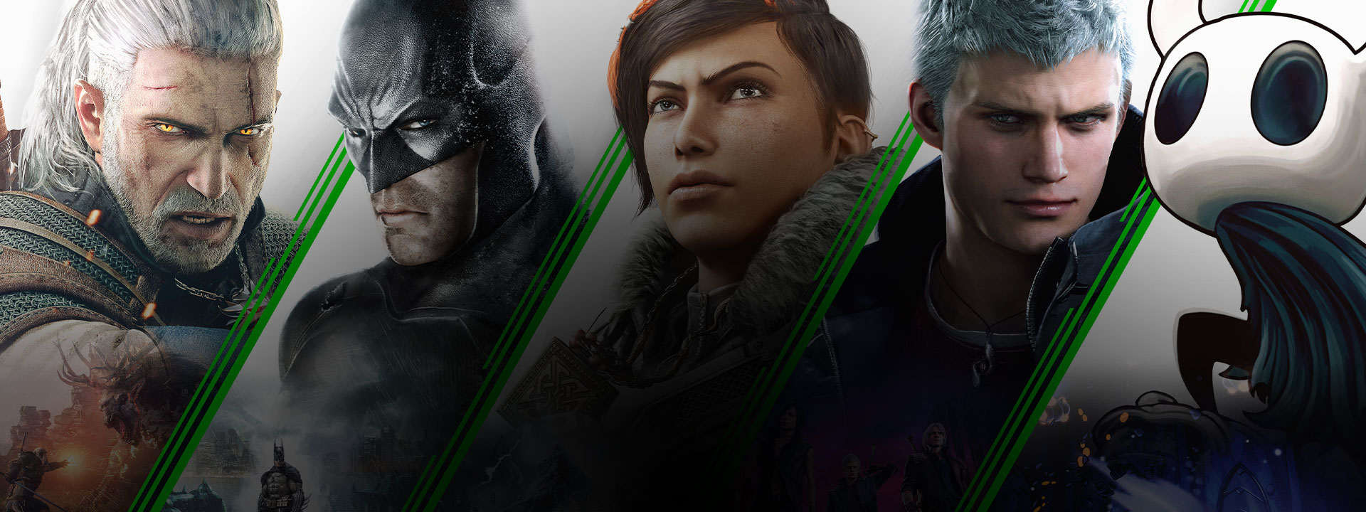 En collage av spill tilgjengelig på Xbox inkludert The Witcher 3: Wild Hunt, Batman (Arkham Series), Gears 5, Devil May Cry 5, og Hollow Knight.