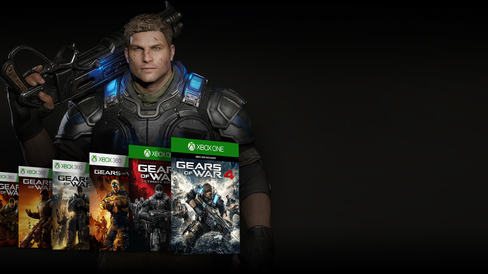 Selection of Gears of War game box shots in front of JD Fenix