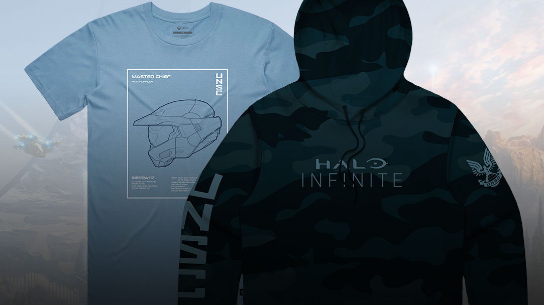 Produits de la collection Halo Infinite, y compris un t-shirt et un sweat à capuche.