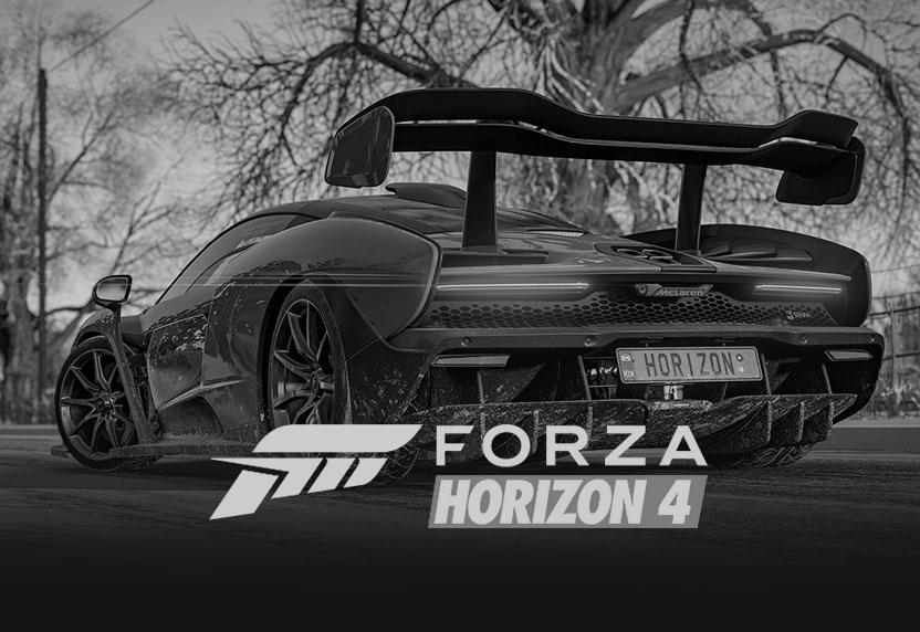 Sportwagen aus Forza Horizon 4 mit Spielelogo, vollständig ausgegraut.