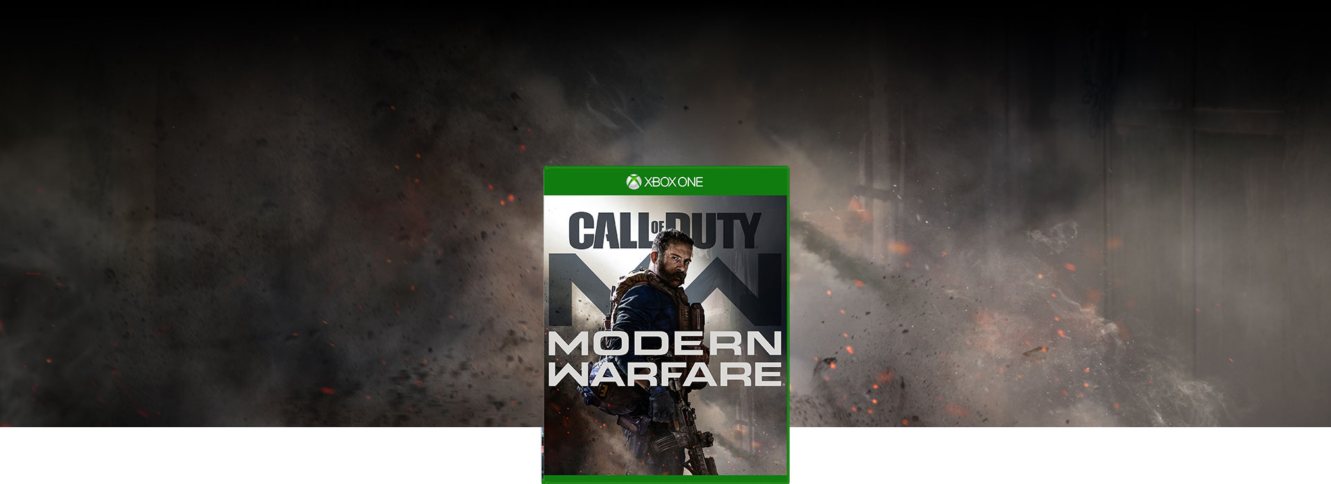 Call of Duty: Modern Warfare boxshot with background of debris from an explosion near a building