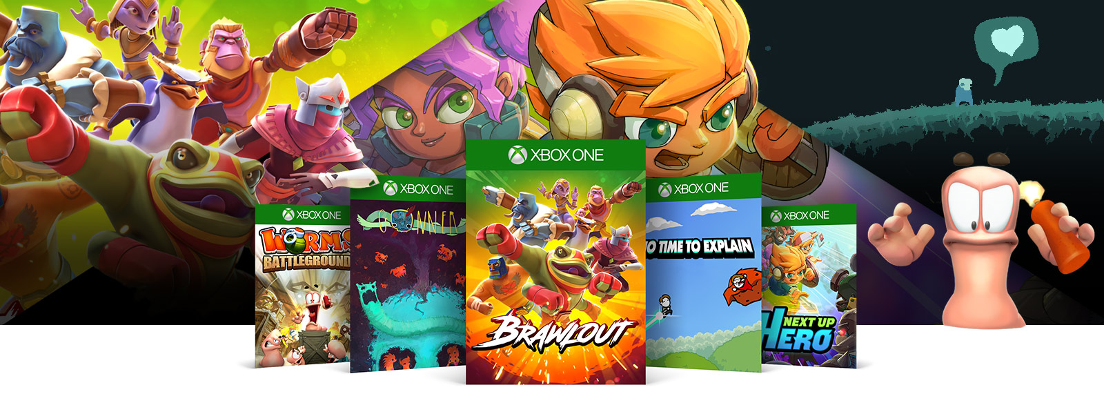 Worms Battlegrounds, Gonner, Brawlout, No Time To Explain and Next Up Hero box shots in front of a collage of game characters