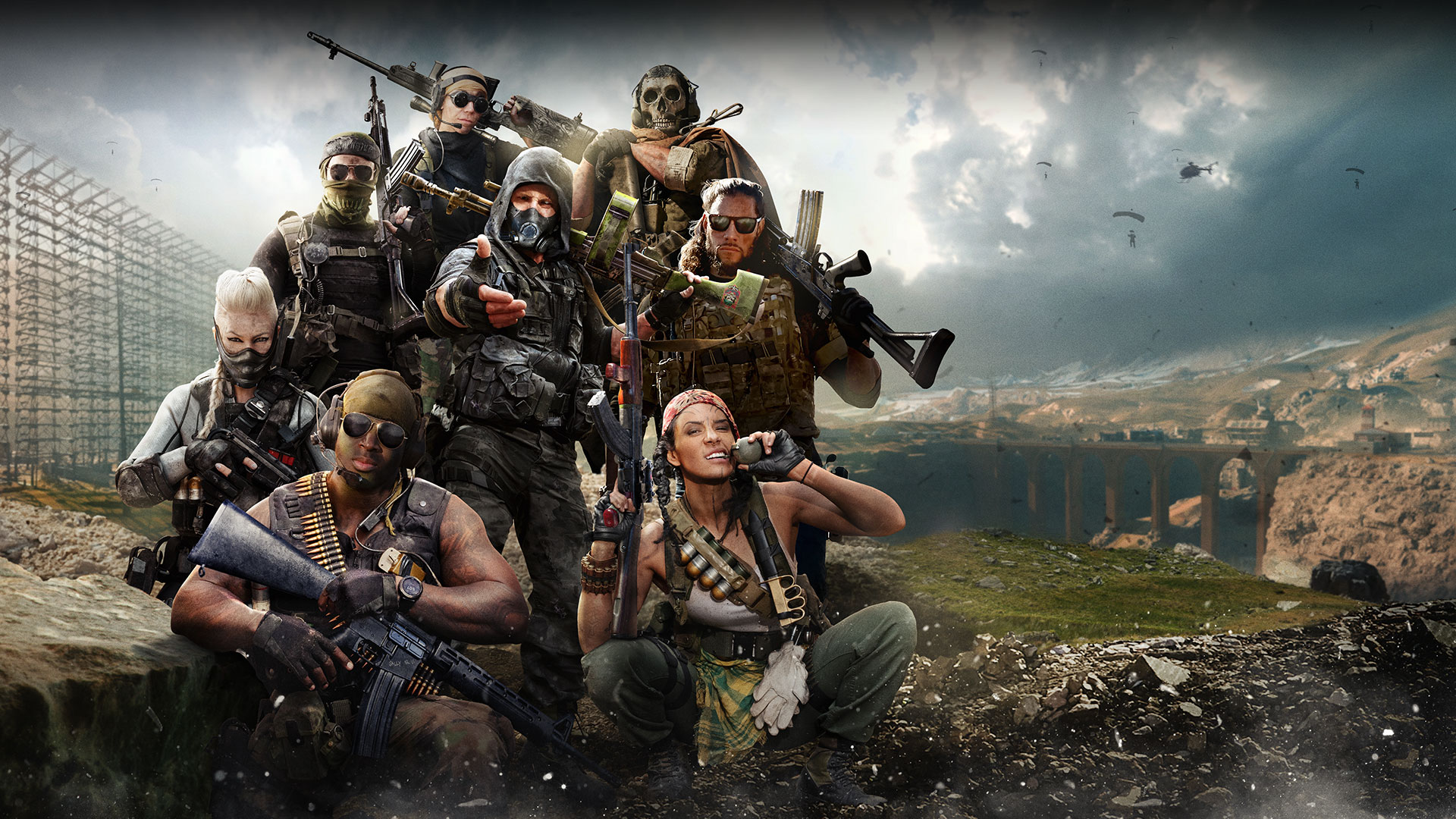 Eight characters all in different outfits wielding grenades, pistols, and machine guns pose in front a battle for a giant bridge.