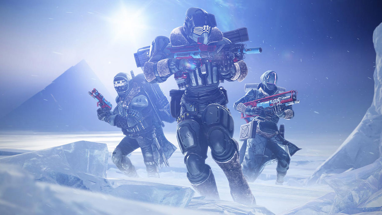 Three guardians stand on an icy planet holding vibrant guns