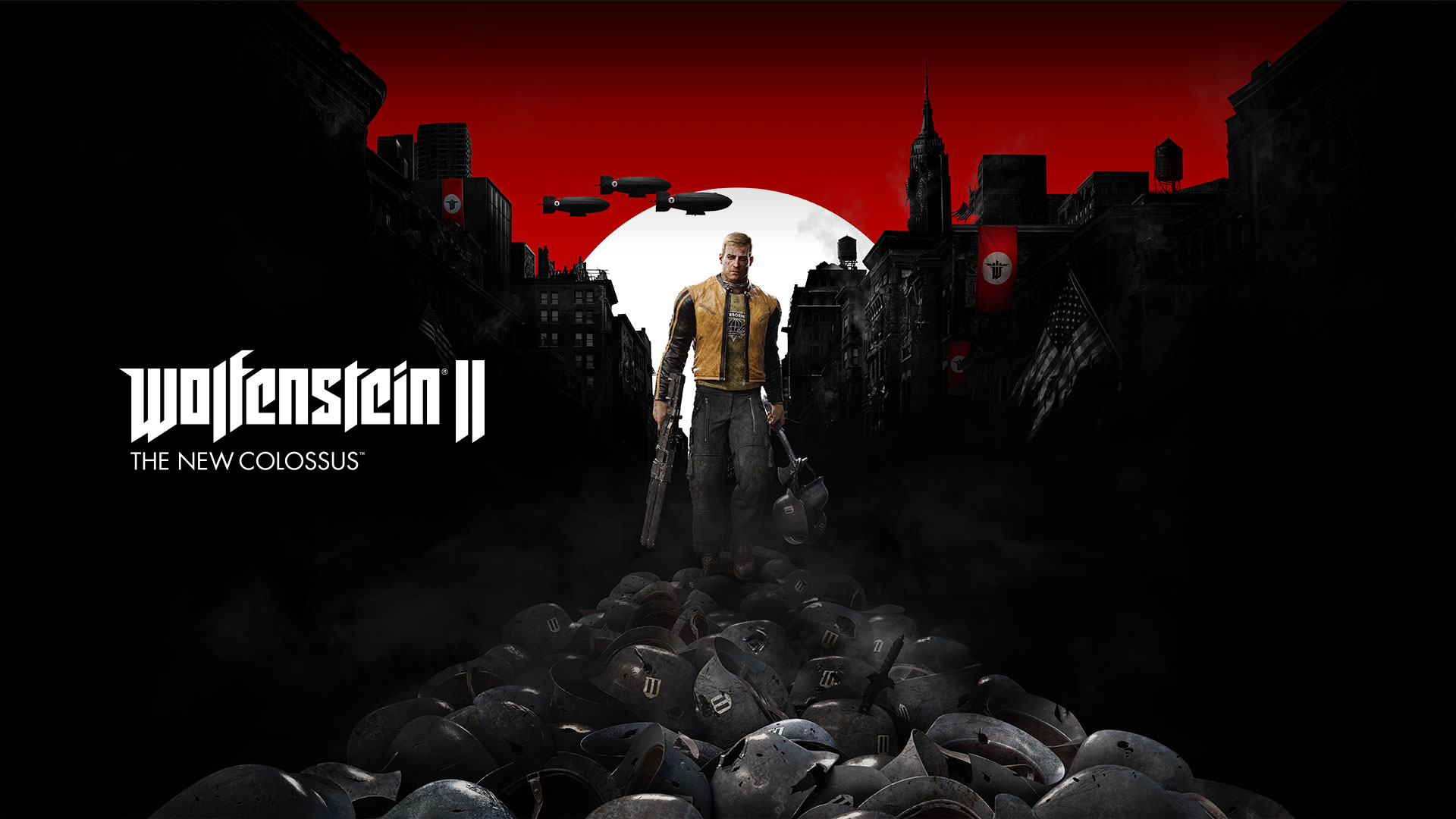 Wolfenstein II The New Colossus: BJ Blazkowicz holding a shotgun with a war-torn American town in the background