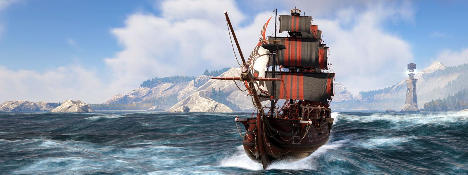 Un bateau avec des voiles rayées noires et rouges naviguant en mer avec un phare et des montagnes à l'arrière-plan