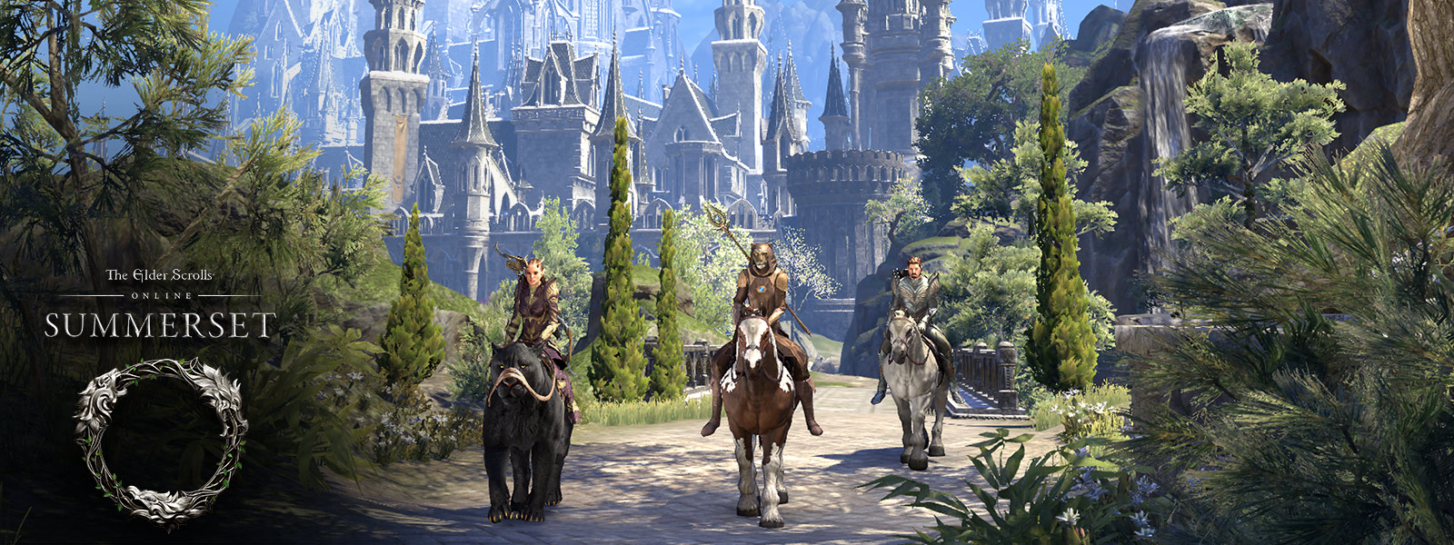 Three characters ride animals outside the city of Alinor