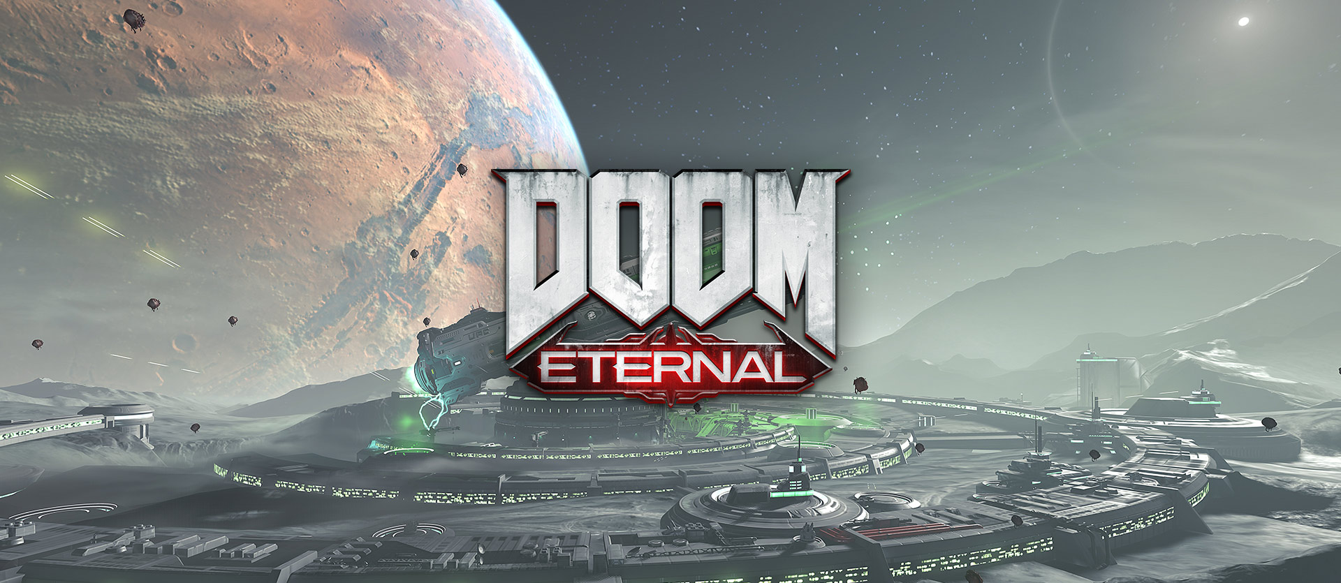 DOOM Eternal, View of a massive gun called BFG 10,000 on the side of a planet