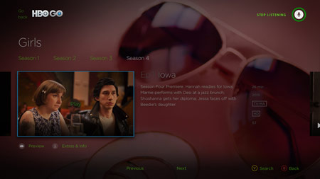Kinect with HBO GO on Xbox One screenshot