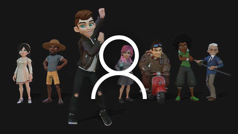 A line-up of Xbox avatars are shown behind a profile icon.