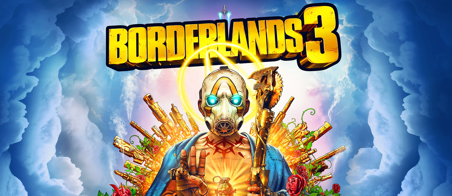 Borderlands 3, A psycho character holds 3 fingers up as he sits on a throne of guns