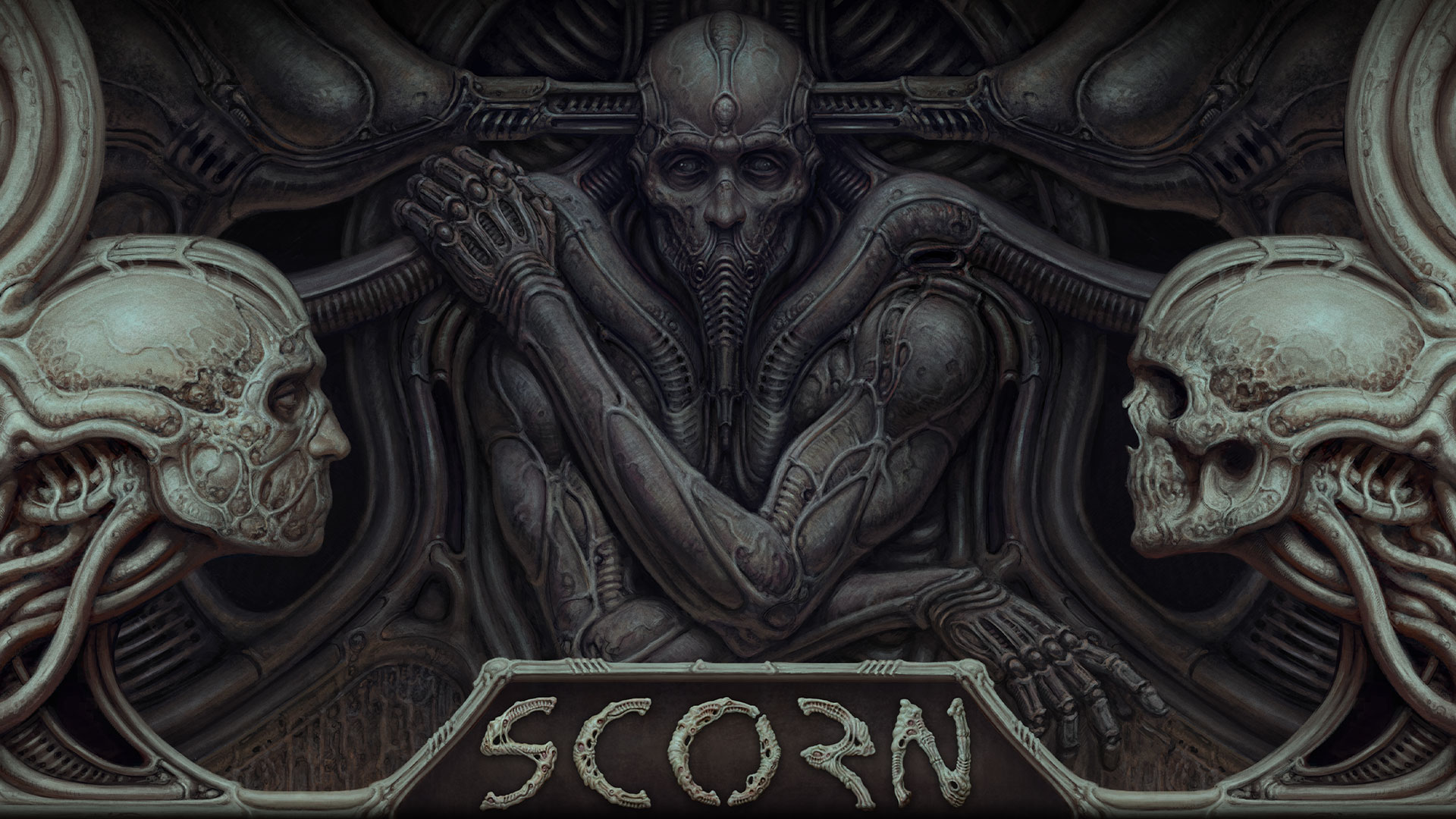Character from Scorn embedded in a wall with two skull heads.