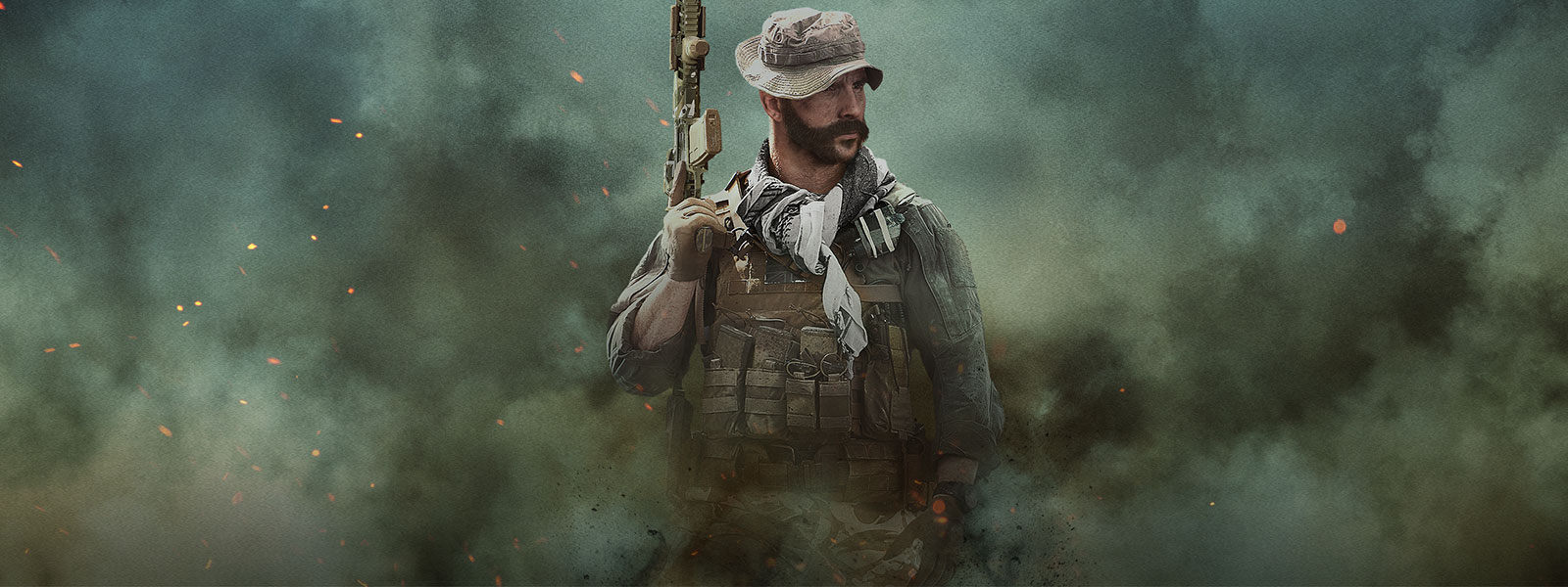 Captain Price from Call of Duty: Modern Warfare in smoke