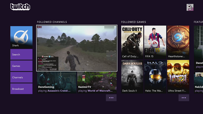 Twitch screen on Xbox One