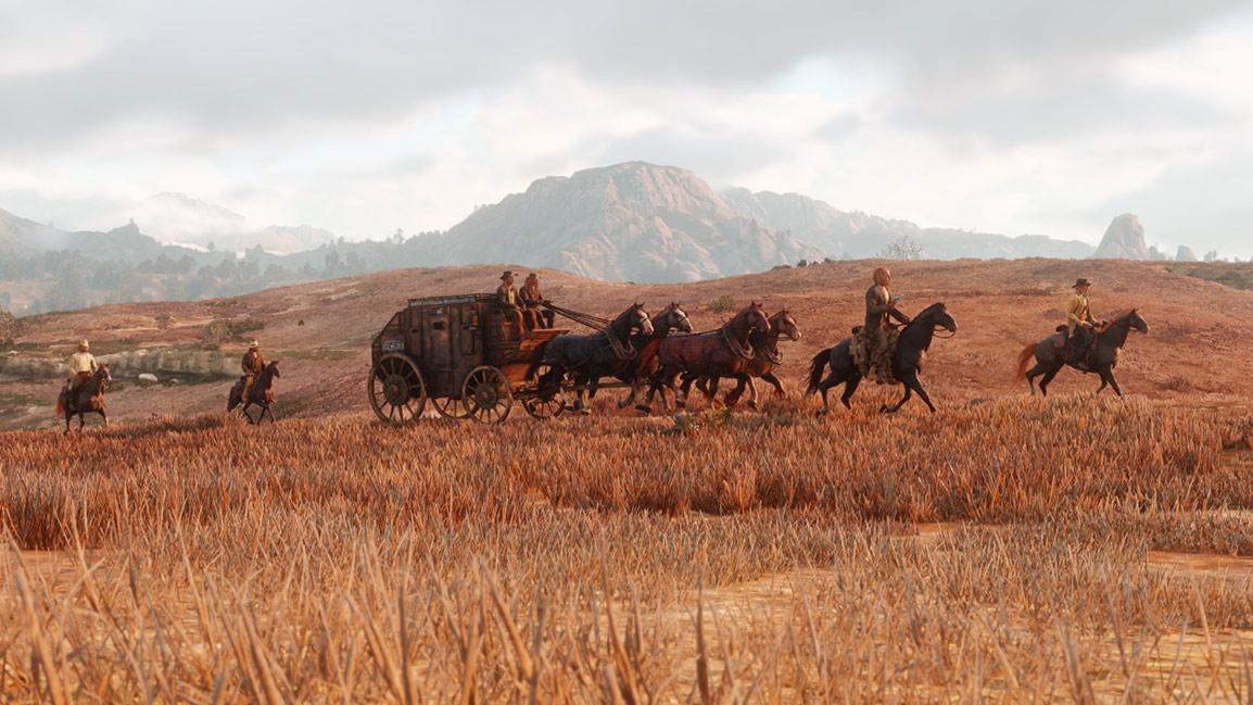 characters escorting caravan through sunset lit plains
