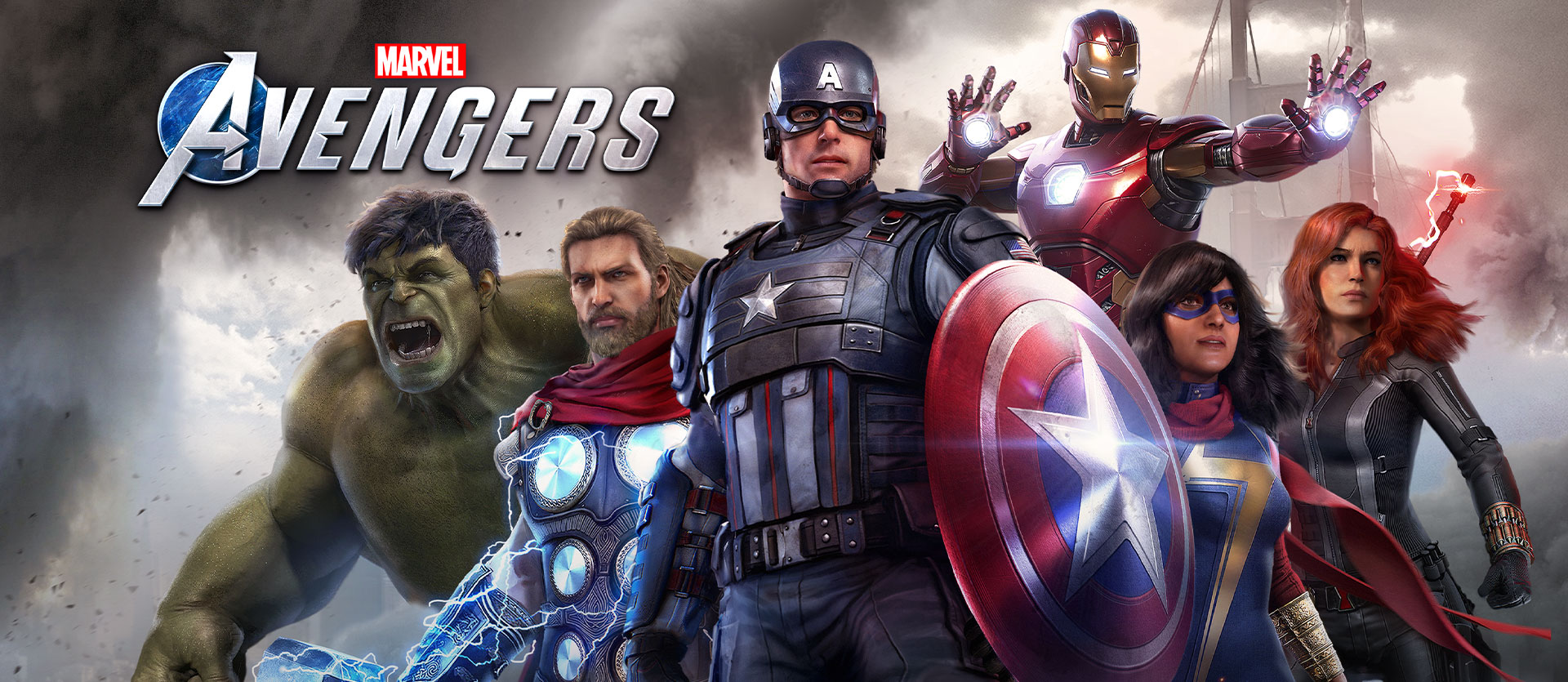 Marvel Avengers-logotypen, Hulken, Thor, Captain America, Ms. Marvel, Iron Man och Black Widow poserar framför Golden Gate-bron under en storm
