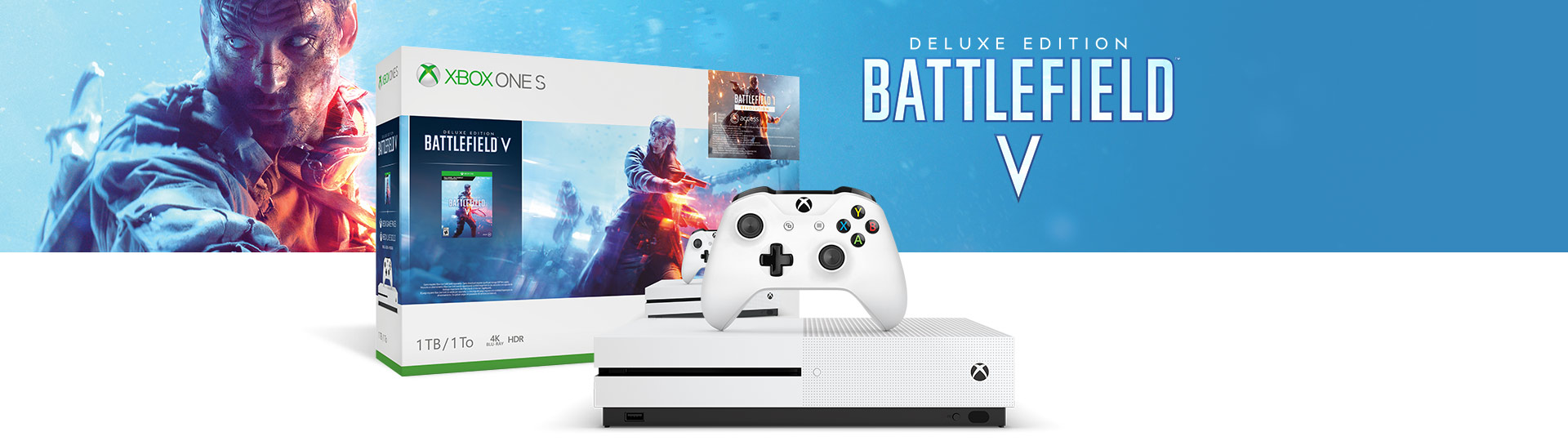 Xbox One S and Controller next to the Xbox One S Battlefield V 1 terabyte product box