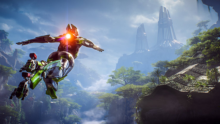 A character in an exosuit flies through a canyon toward distant towers