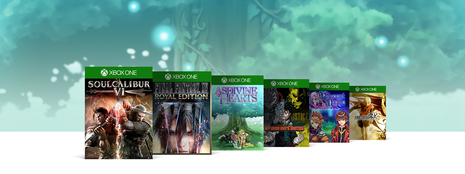 A collage of box art for Xbox One games on sale. SOULCALIBUR 6, FINAL FANTASY 15 ROYAL EDITION, Asdivine Hearts, My Hero One's Justice, Revenant Dogma, and FINAL FANTASY TYPE-0 HD.