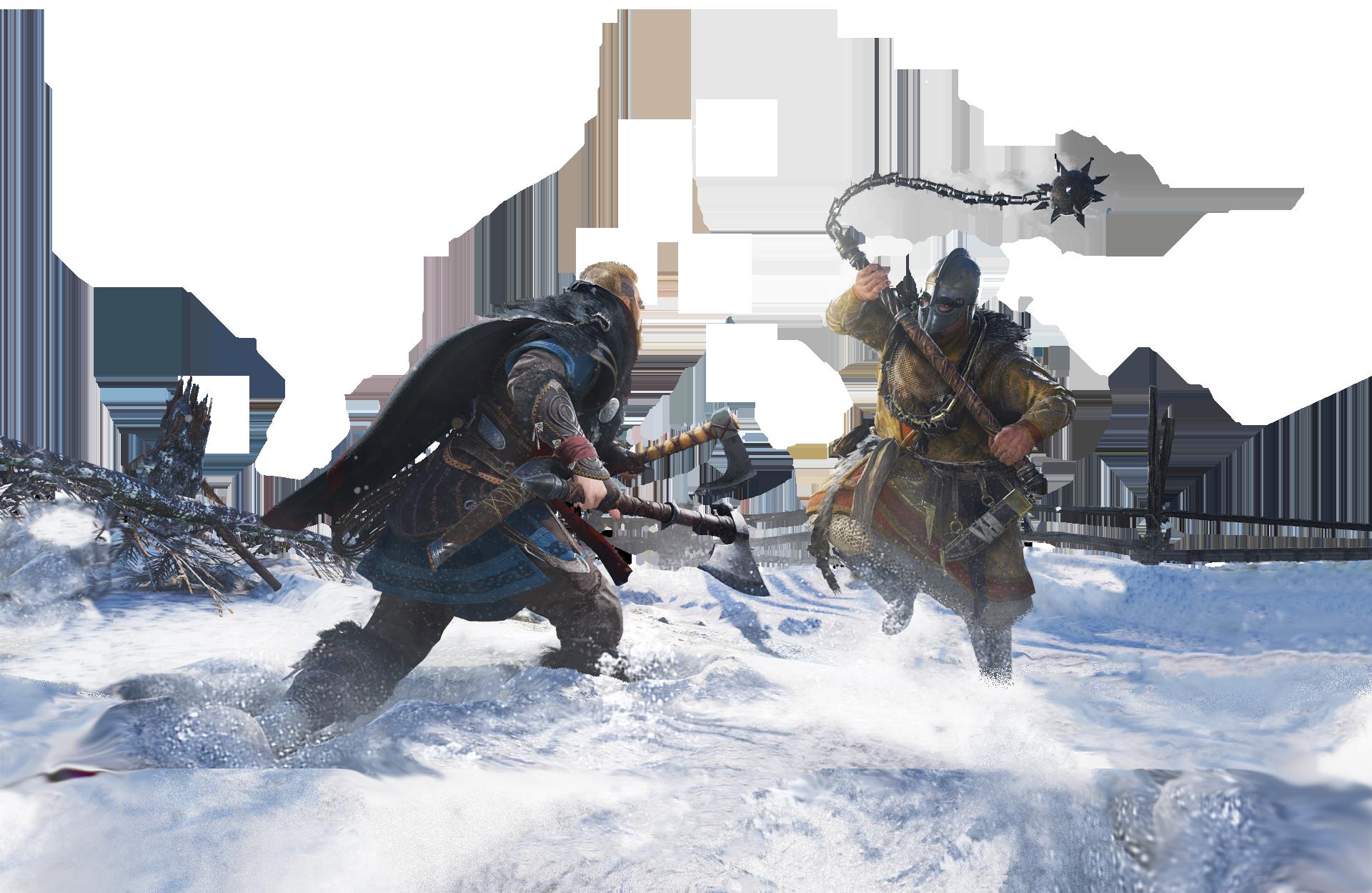 Assassin's Creed Valhalla. Eivor i kamp mod en fjende, der bærer en morgenstjerne.