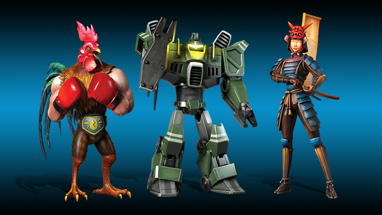 A rooster, mech and samurai stand side-by-side in front of a blue gradient background.