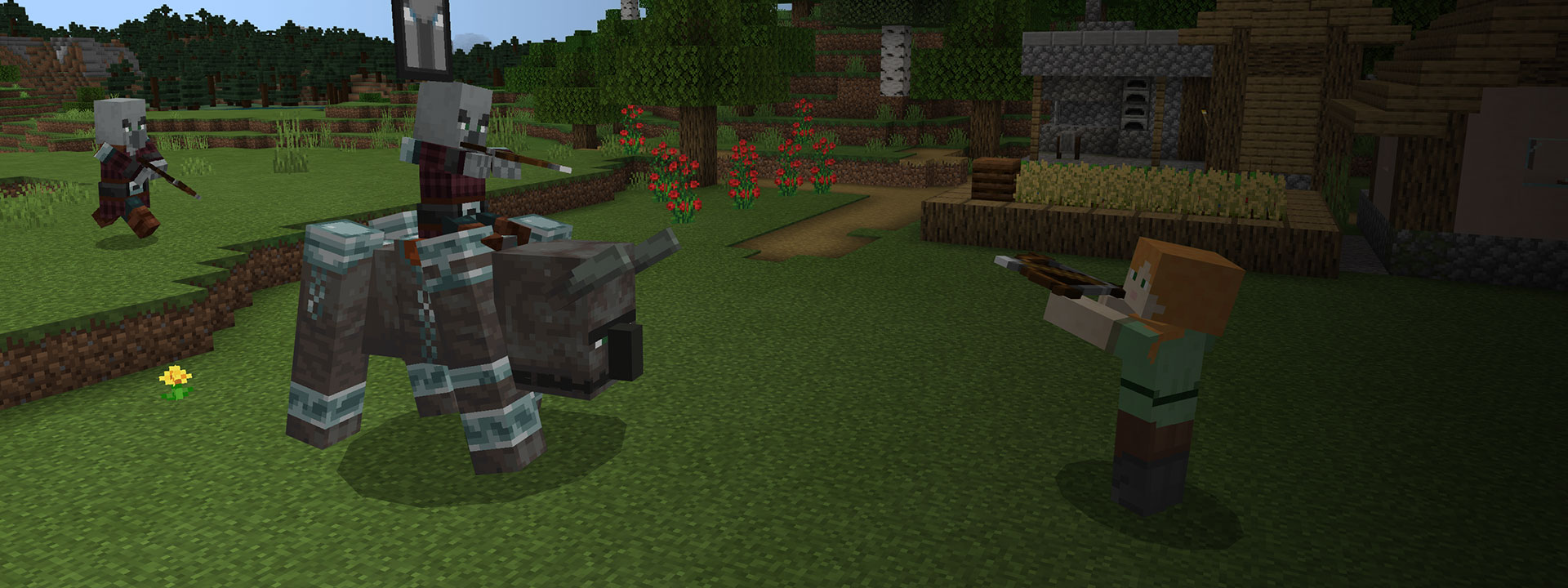 Two Creepers, one riding a bull, attacking a Blockhead with crossbows