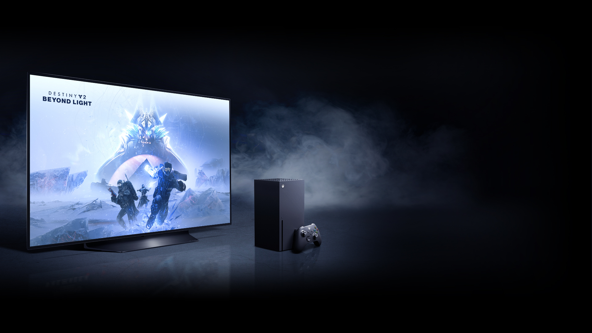 An Xbox Series X alongside an LG OLED TV with a visual from Destiny 2
