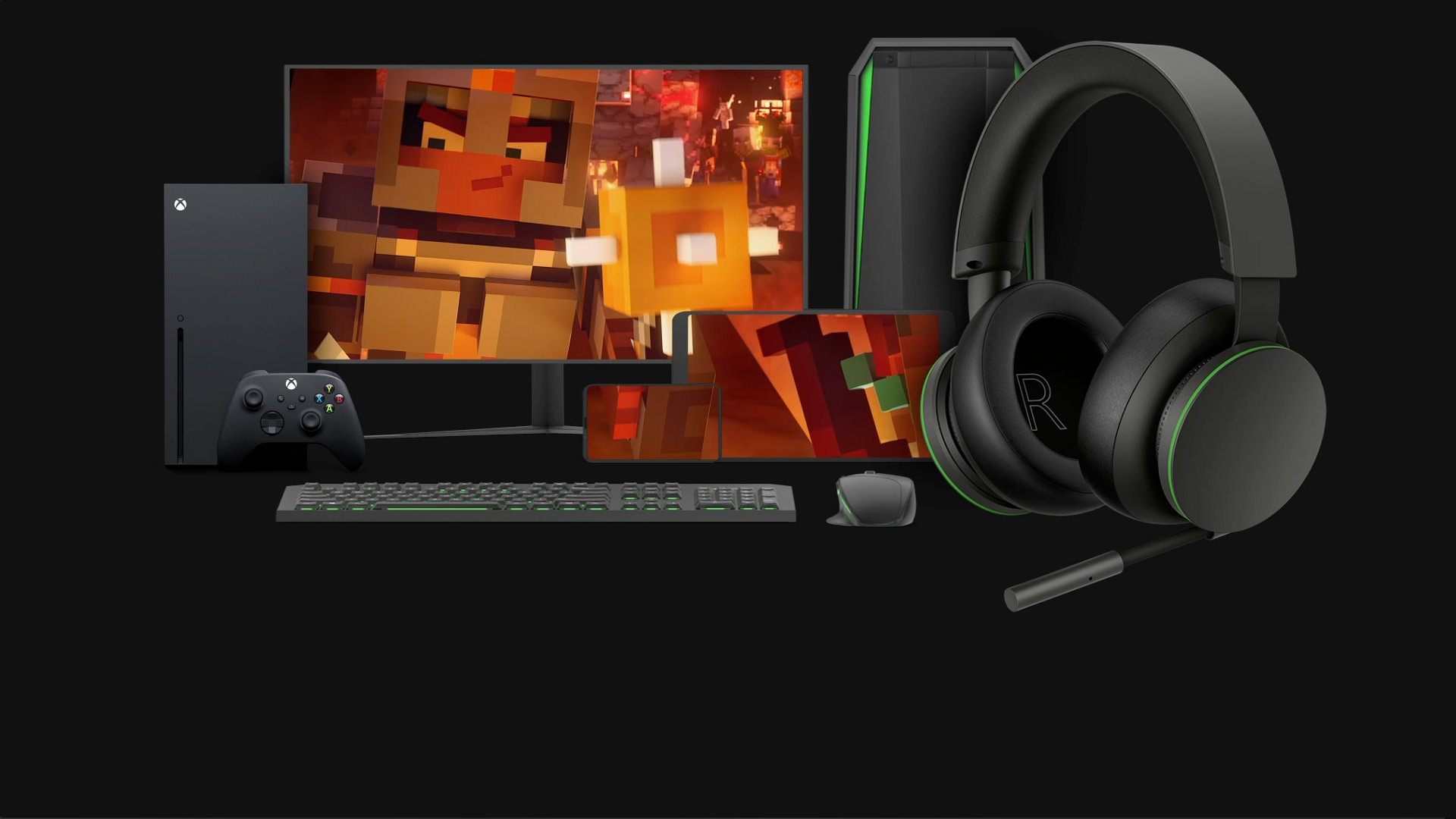 The Xbox Stereo Headset sits in front of a selection of devices it is compatible with, including the Xbox Series X, Windows 10 PC, and a mobile device.
