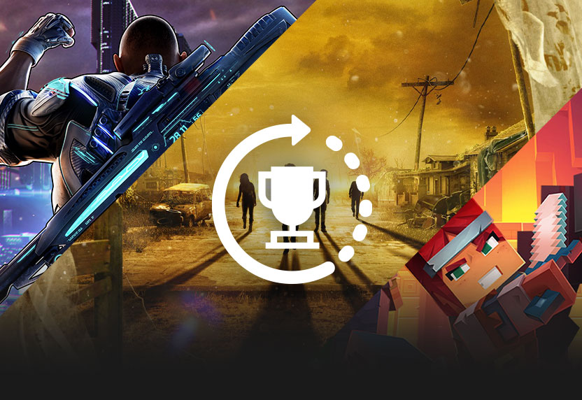 The Xbox Achievements icon over key art for Crackdown 3, State of Decay, and Minecraft Dungeons, all greyed out.
