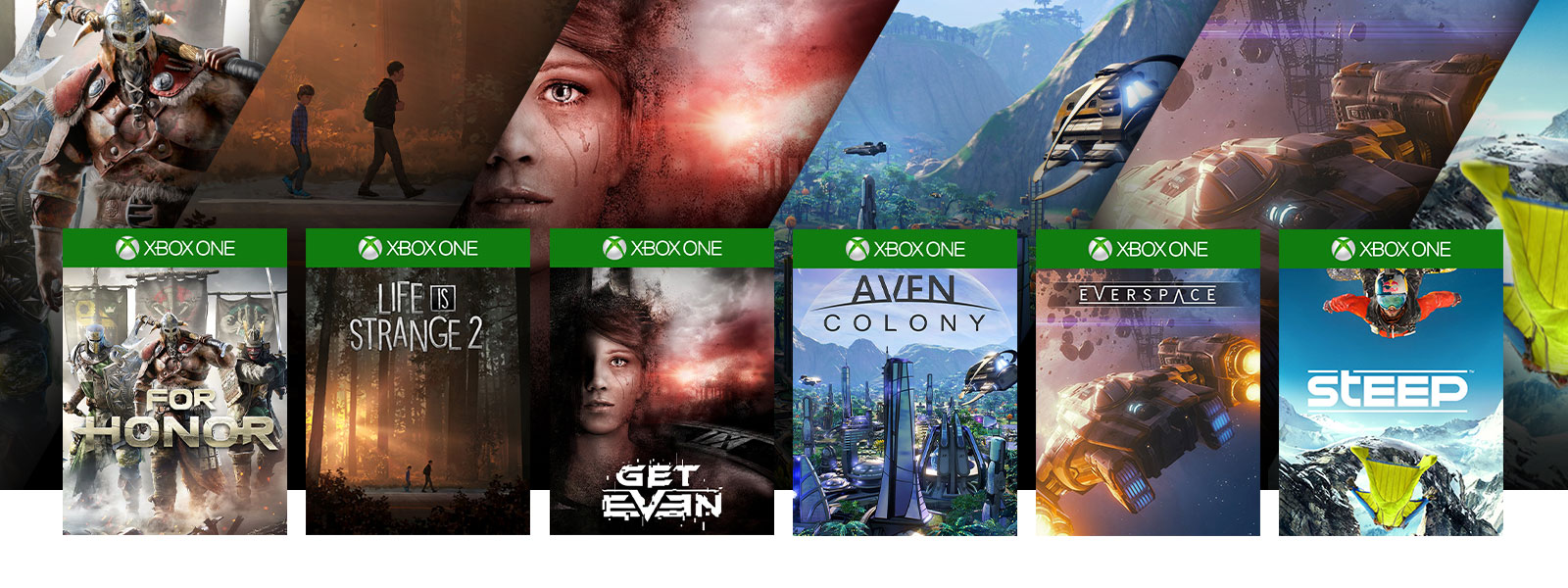 A collage of box art, scenes, and characters from Xbox One games on sale. For Honor, Life is Strange 2, Get Even, Aven Colony, Everspace, Steep