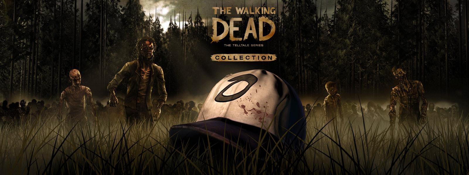 La collection The Walking Dead - The Telltale series (Le chapeau de Clémentine posé dans un champ tandis qu'une horde de zombies approche)