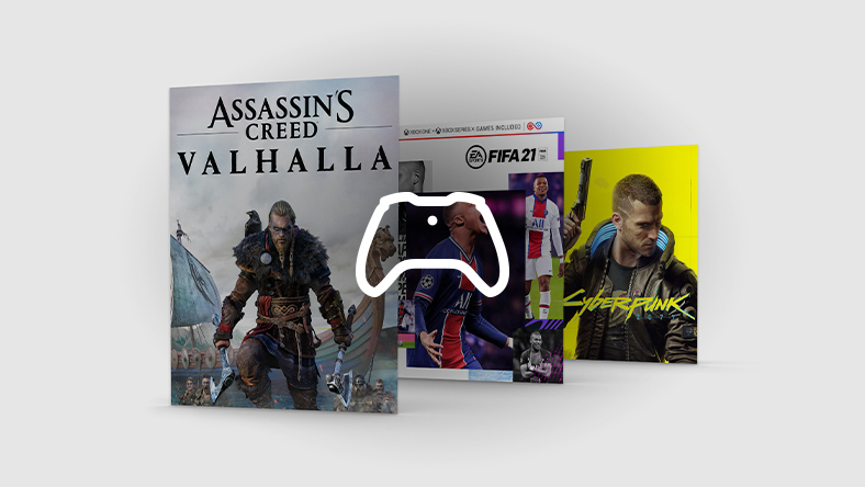 Assassin's Creed Valhalla, FIFA 21, and Cyberpunk 2077 box art staggered in a row with a white controller icon