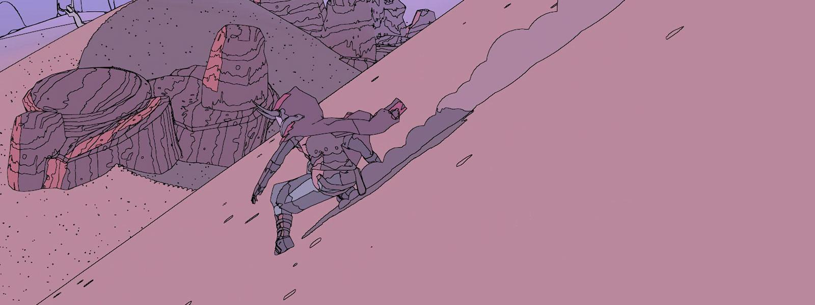 Η Sable κατεβαίνει λόφο γλιστρώντας με πετρώματα από βράχους και έναν πύργο στο φόντο