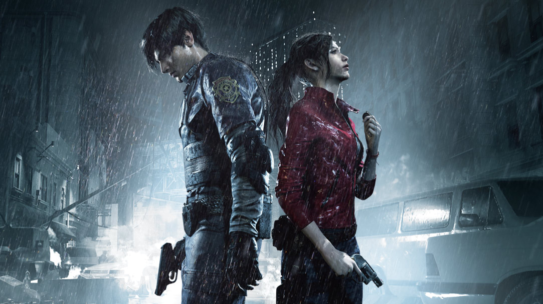 Leon Kennedy and Claire Redfield stand back to back in the rain