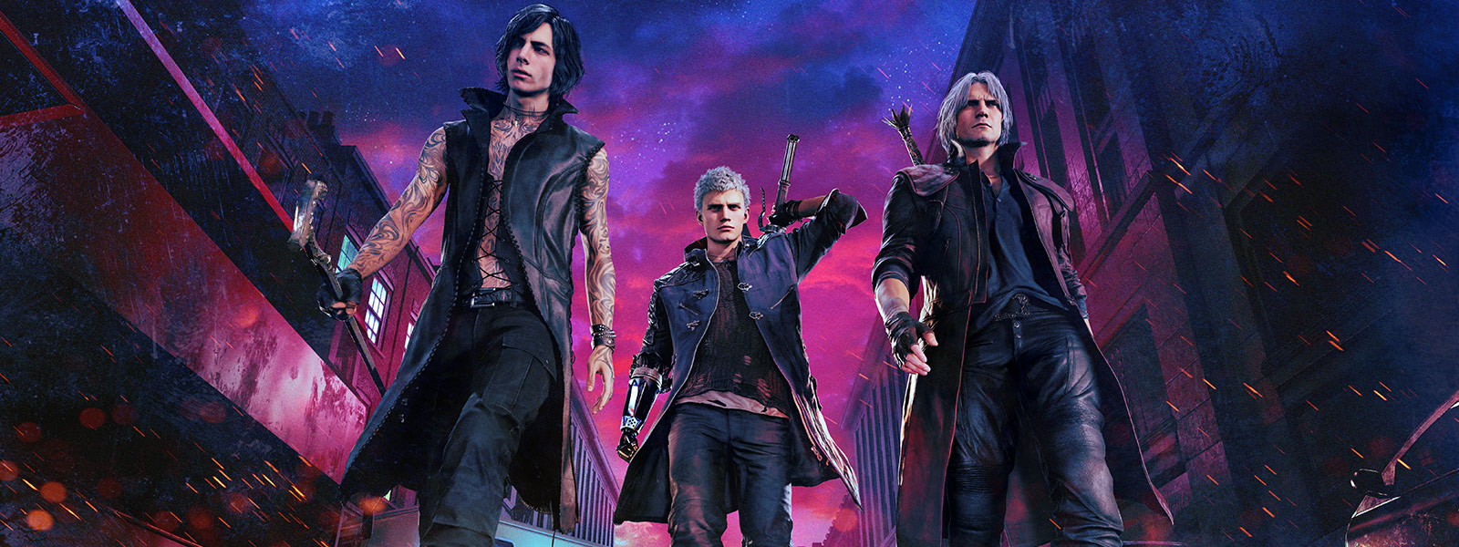 Front view of the 3 main character from Devil May Cry with one pulling out a sword
