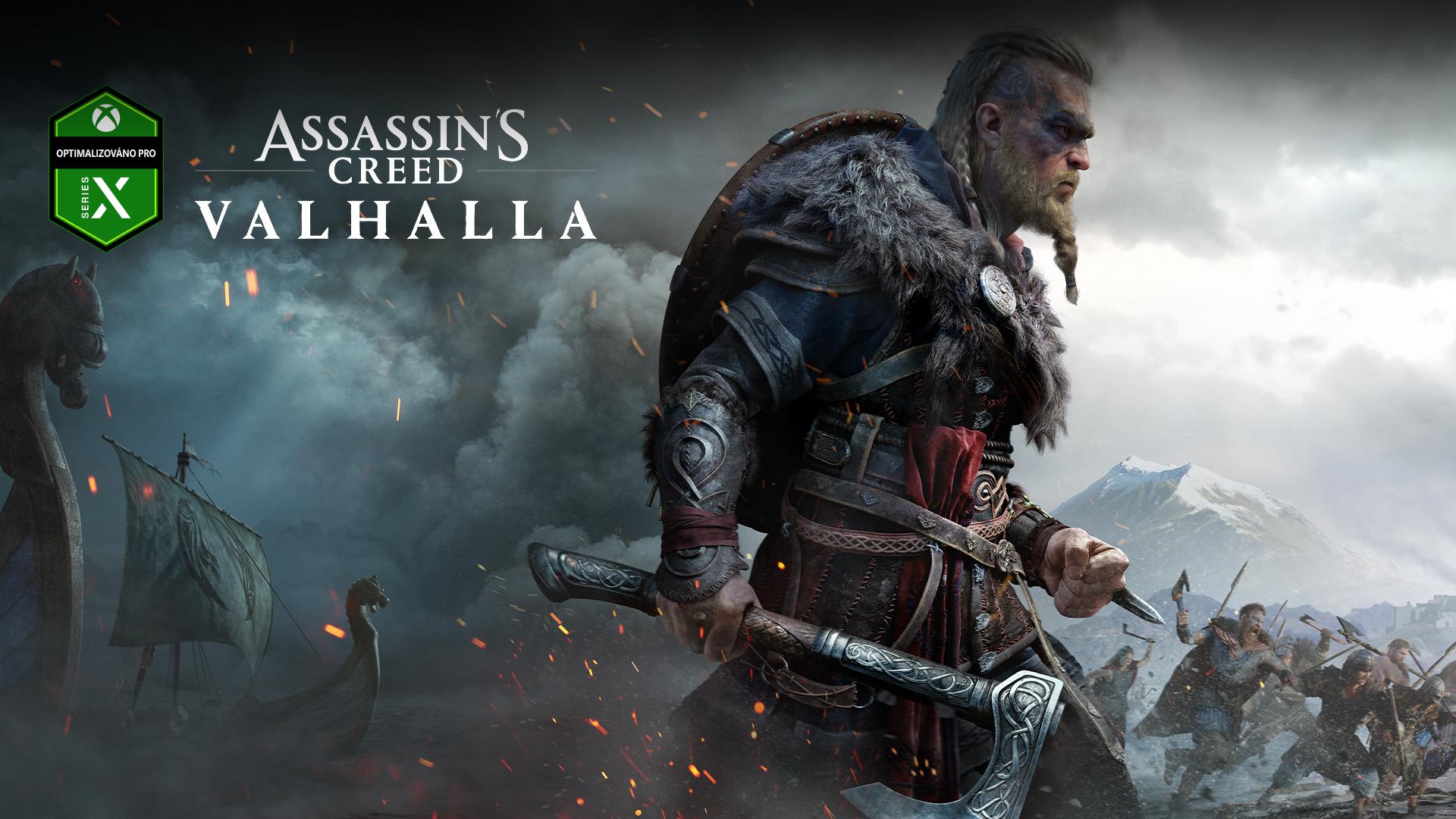 Logo Optimalizováno pro Xbox Series X, Assassin's Creed Valhalla, postava se sekerou, na pozadí je bitva a lodě v mlze
