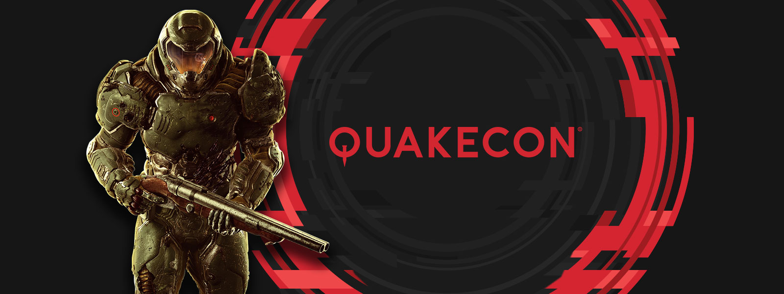 A red Quakecon logo next to a Slayer character from the Xbox One game DOOM.