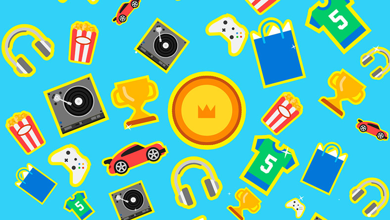 A variety of icons are scattered across the tile, including headphones, bags of popcorn, turntables, cars, Xbox controllers, trophies, and more.