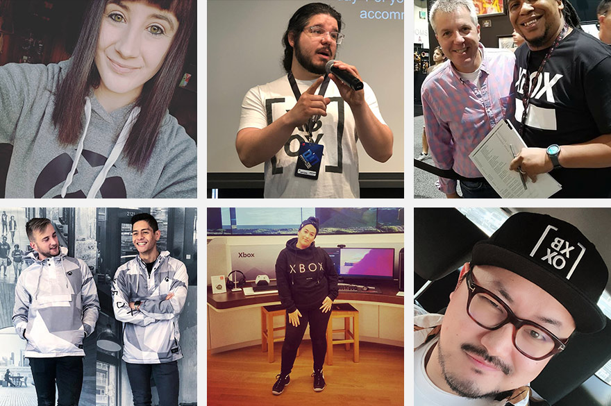 Collage of six images of people wearing their Xbox Official Gear