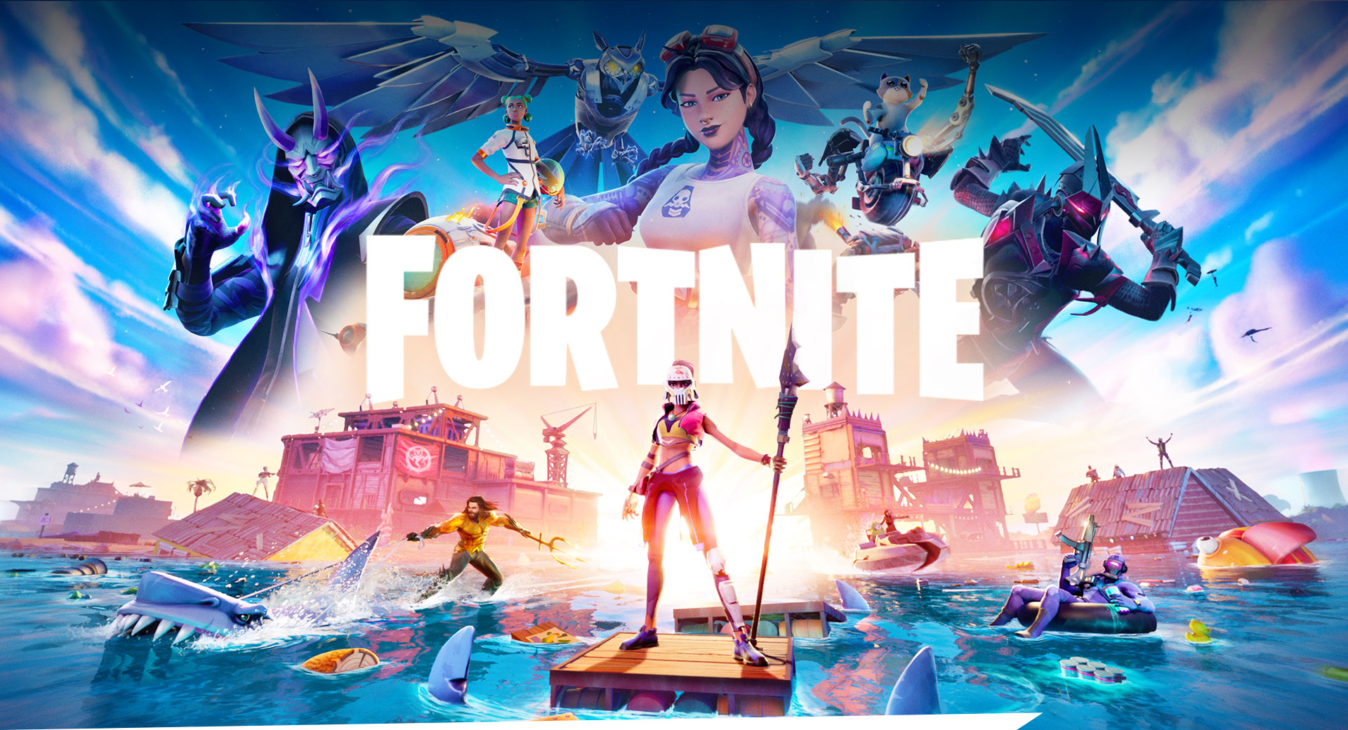 Fortnite, Aquaman and another character stand on the ocean with a floating town in the background.