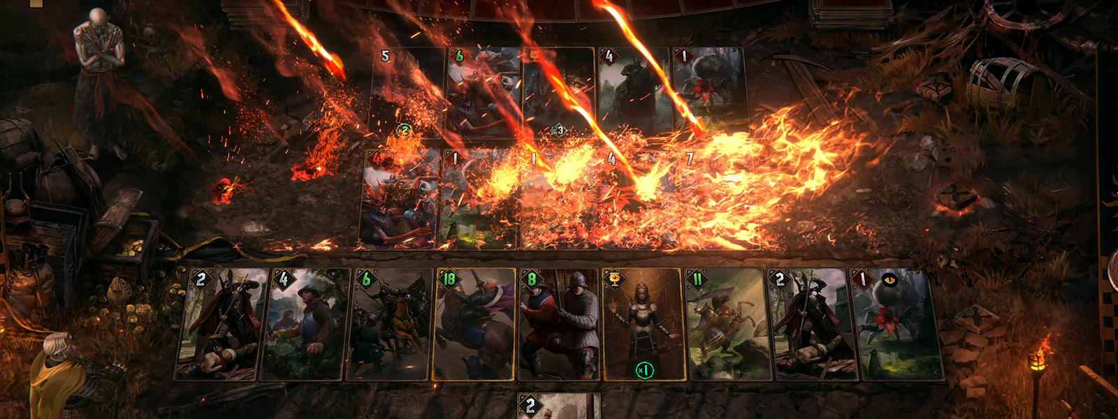 The opponent's cards get pelted by fire during battle