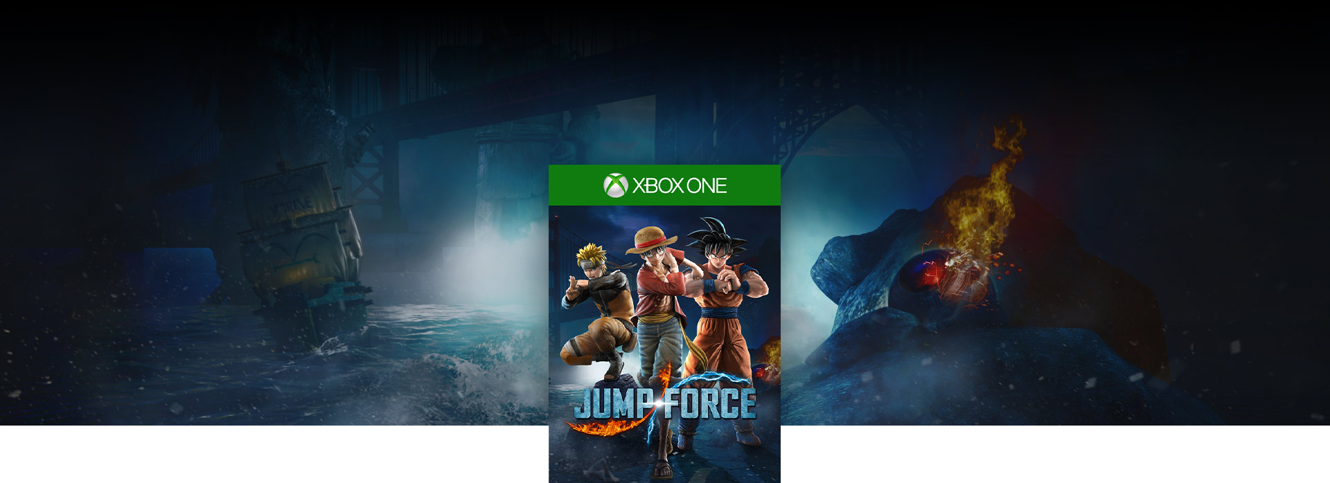 Jump Force-coverbilde, men et mørkt skue av ødeleggelser under Golden Gate-broen
