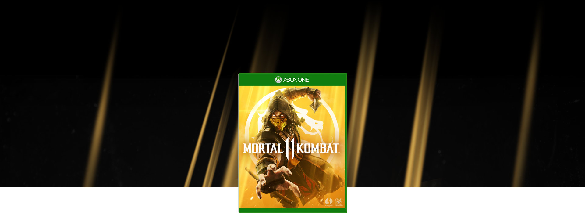 Mortal Kombat 11 boxshot, background of Scorpion as he throws his spear toward the screen