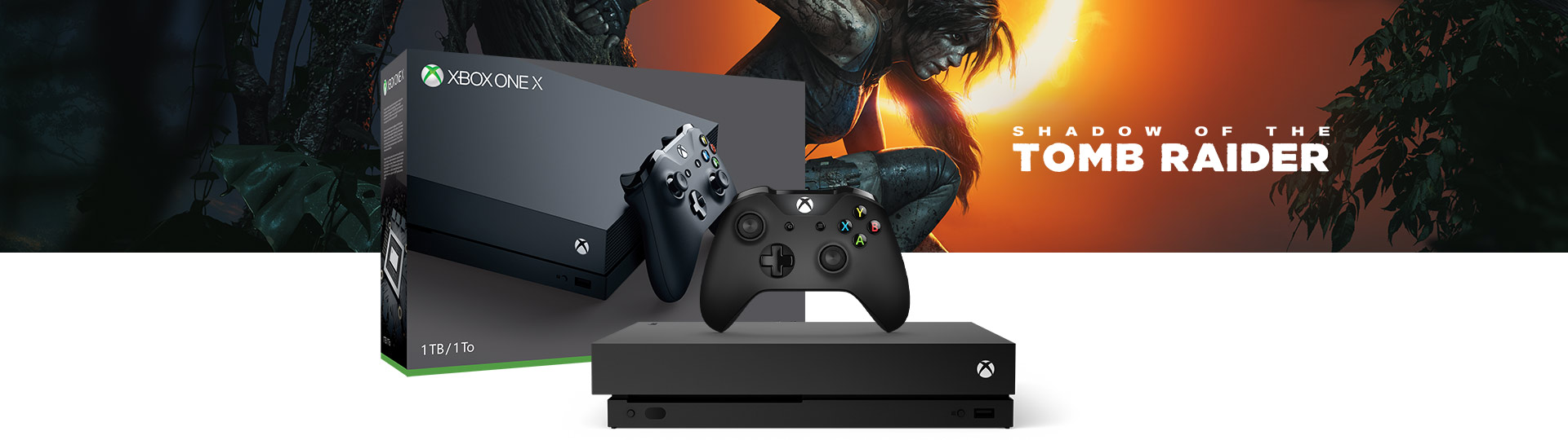 Xbox One X and Controller next to the Xbox One X Shadow of the Tomb Raider 1 terabyte product box