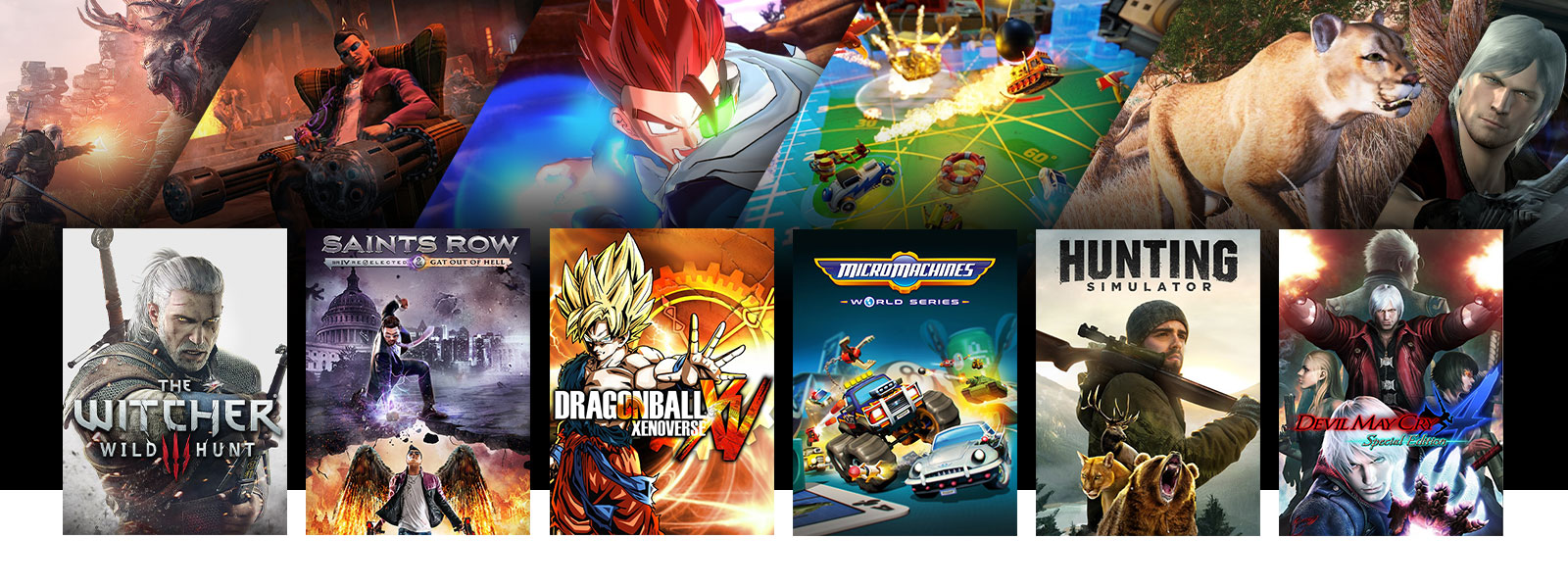 A collage of scenes and box art from Xbox One games on sale. The Witcher 3: Wild Hunt, Saints Row IV: Gat out of Hell, DRAGON BALL XENOVERSE, Micro Machines World Series, Hunting Simulator, and Devil May Cry 4 Special Edition